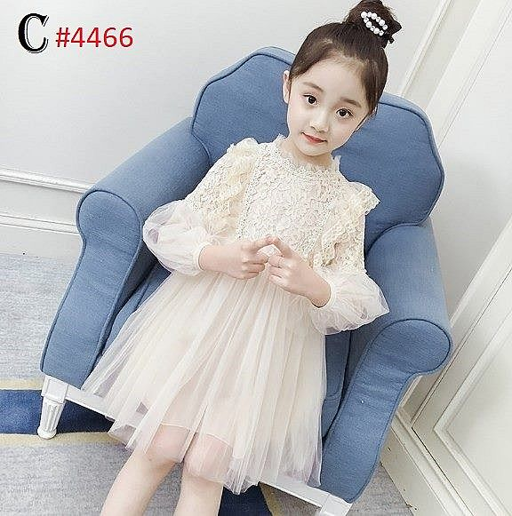 DRESS ANAK TUTU TANGAN PANJANG ELEGANT CHIFFON MIX LACE CREAM ©(RSBY-4466)