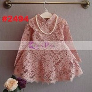 DRESS ANAK KOREA PINK MODEL LACE QIPAO CREAM  +KALUNG(RSBY-2494)