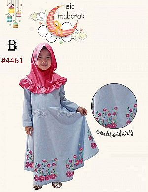 GAMIS ANAK DENIM VARIASI BORDIR EMBROIDERY + KRUDUNG KID (2-7TH) (RSBY-4461)