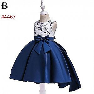 DRESS PESTA ANAK HIGH LOW STYLE 2 TONE COLOUR WHITE AND NAVY VARIASI BORDIR FLOWERS (B)(RSBY-4467)