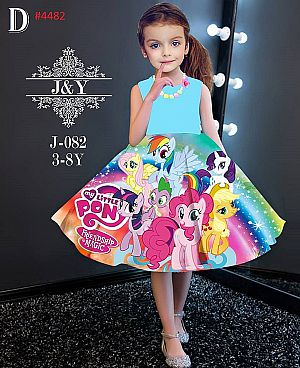 DRESS ANAK PINK SUPER CUTE MOTIF CUTE PONY AND FRIEND (A)(RSBY-4482)